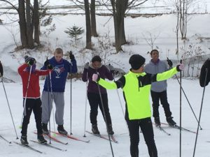 Biathlon team during an instructional workshop