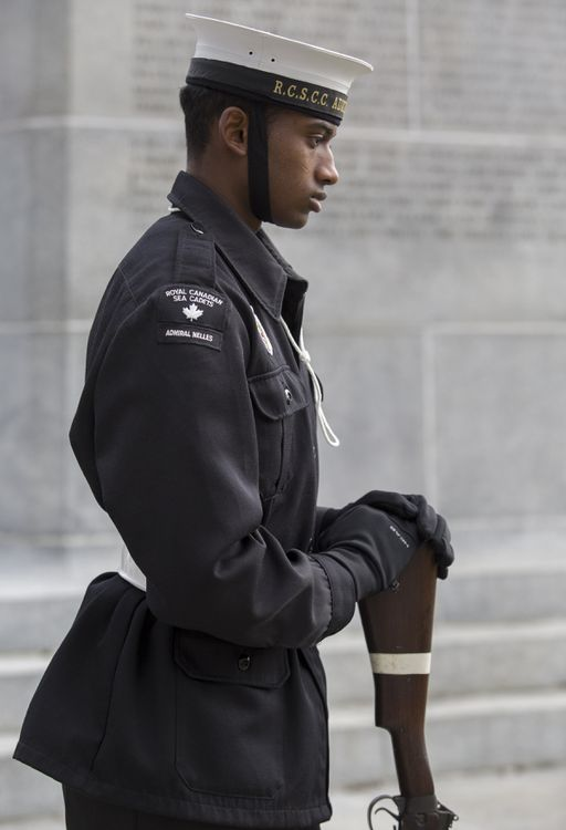 Sea cadet PO2 Isaiah Loftman stands at the Brant County War Memorial - Brian Thompson/Brantford Expositor/Postmedia Network