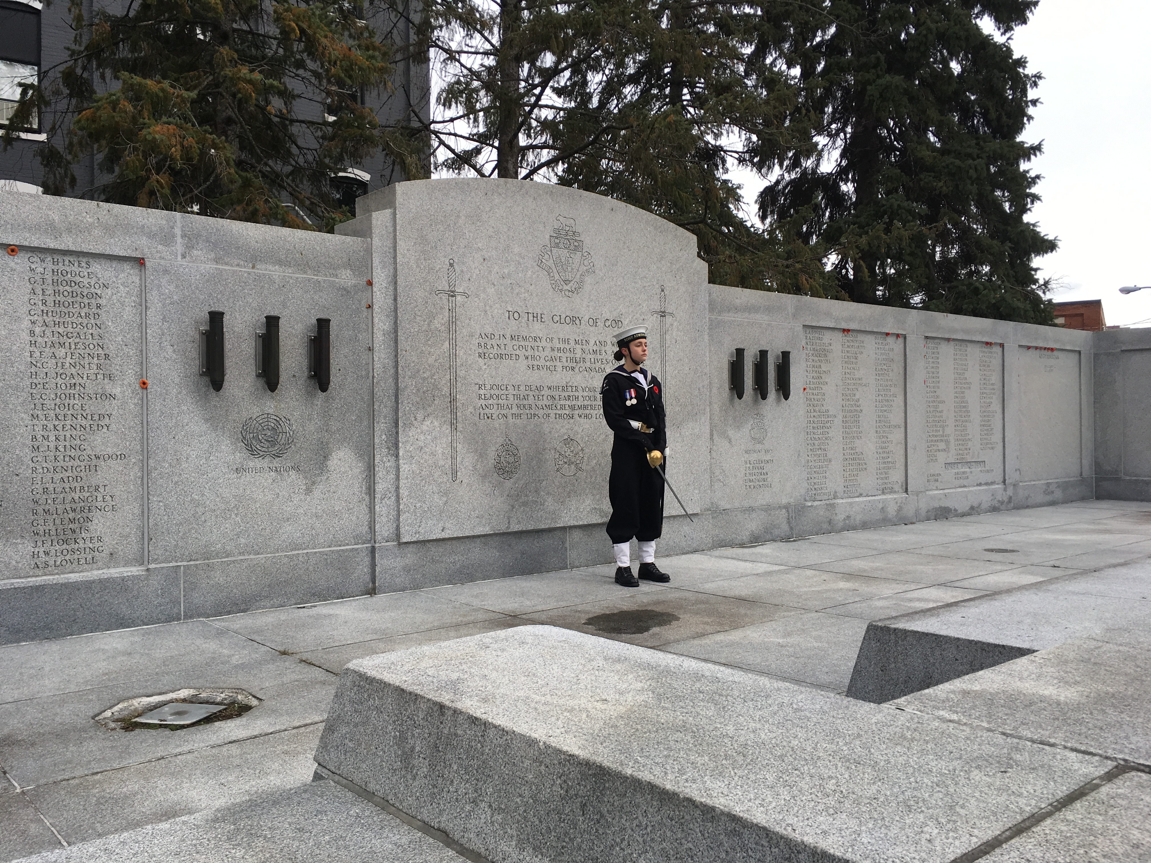 CPO2 Barnard at back of Brant County War Memorial