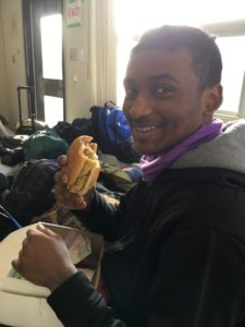 MS Loftmann enjoys a sandwich at break