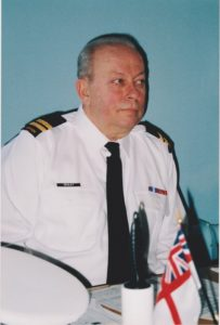 Lt (N) Begley in uniform at our old ship 300 Colborne St. West
