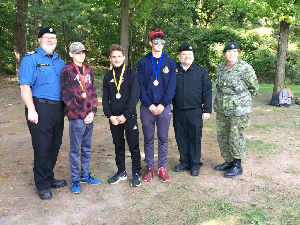 Presentation of medals, Barnard 3rd from left won 1st in under 15 year old category
