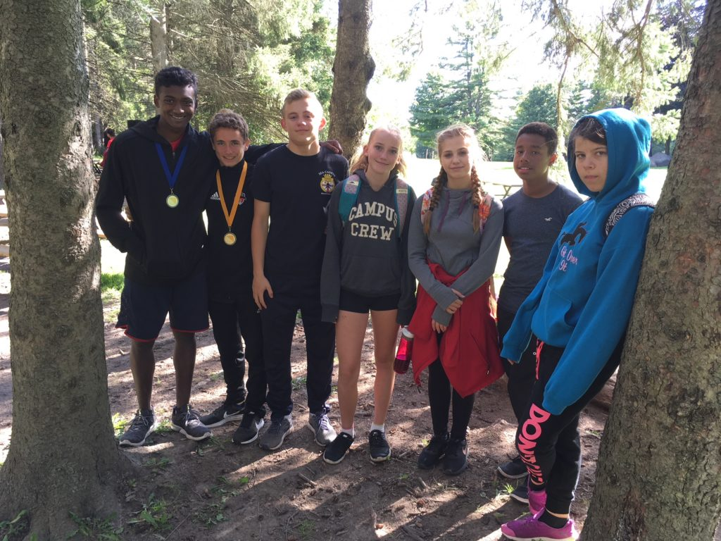Group shot in the woods after presentations. L to R Loftman, Barnard, Bossy, Betts, Kocis-Ristanovic, Forbes, Linington