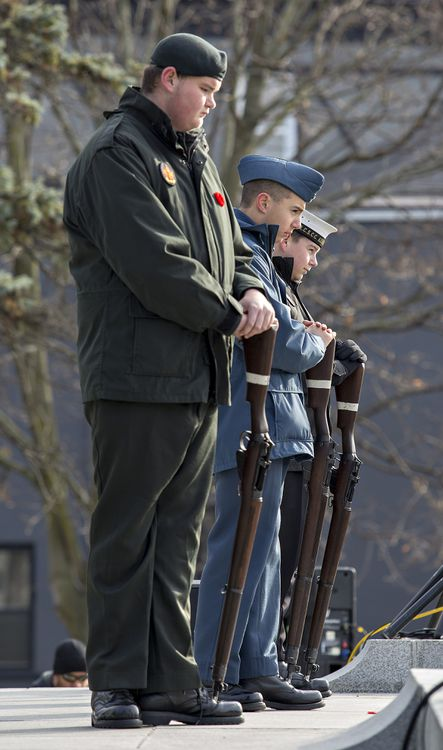 Cadets (front to back) Sgt. N Florek, Sgt. M Bossey, and MS B. Liverance stand vigil on the cenotaph - Brian Thompson/Brantford Expositor/Postmedia Network