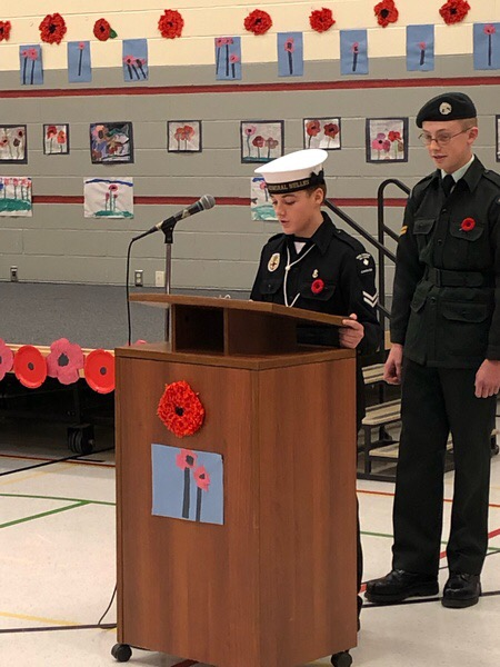 LS D. Callaghan speaks at his schools Remembrance Service in Uniform.